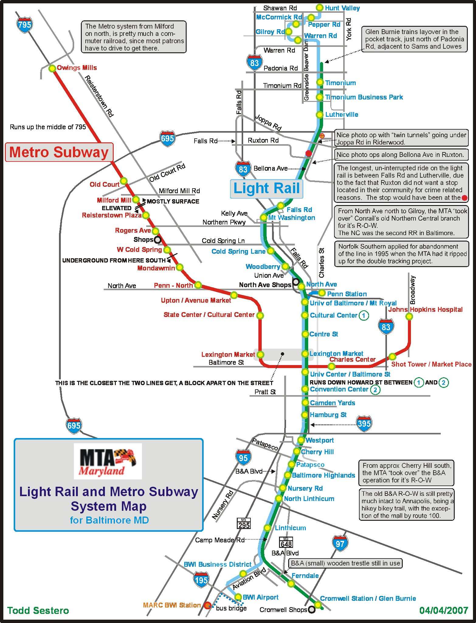Baltimore Metro Subway Railfan Guide RSUS