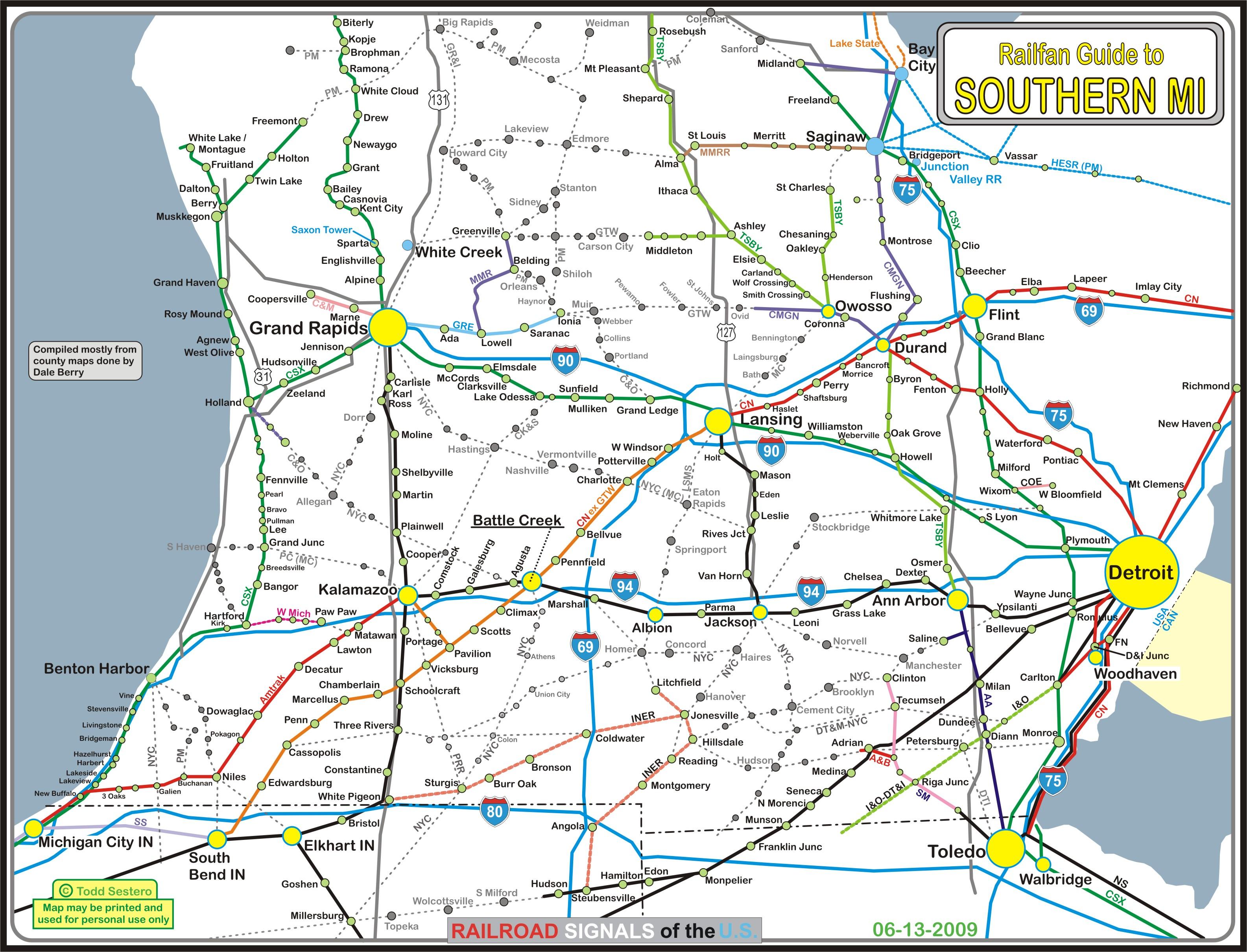 Map Of Southern Michigan Southern Michigan Railfan Guide Map Of Southern Michigan