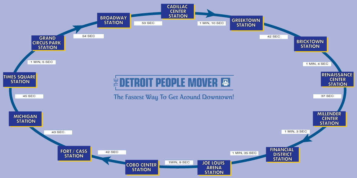 People Mover Map Detroit People Mover PRT Railfan Guide People Mover Map