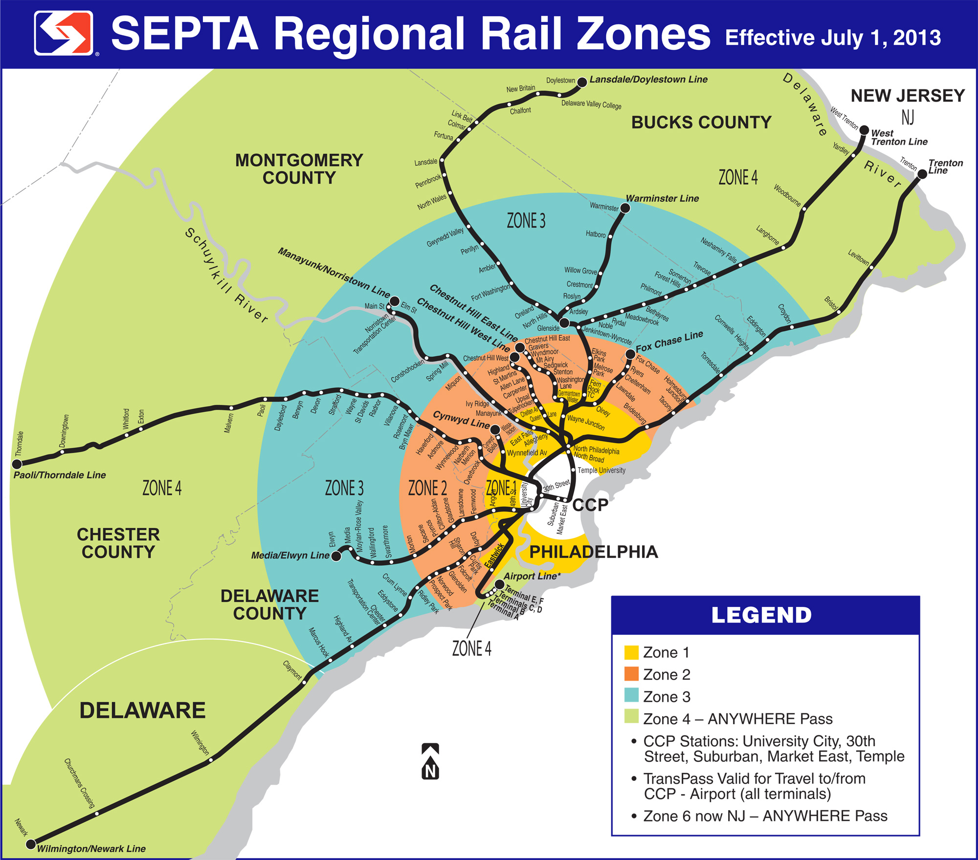 Septa Rail Map SEPTA's Rail Lines Map