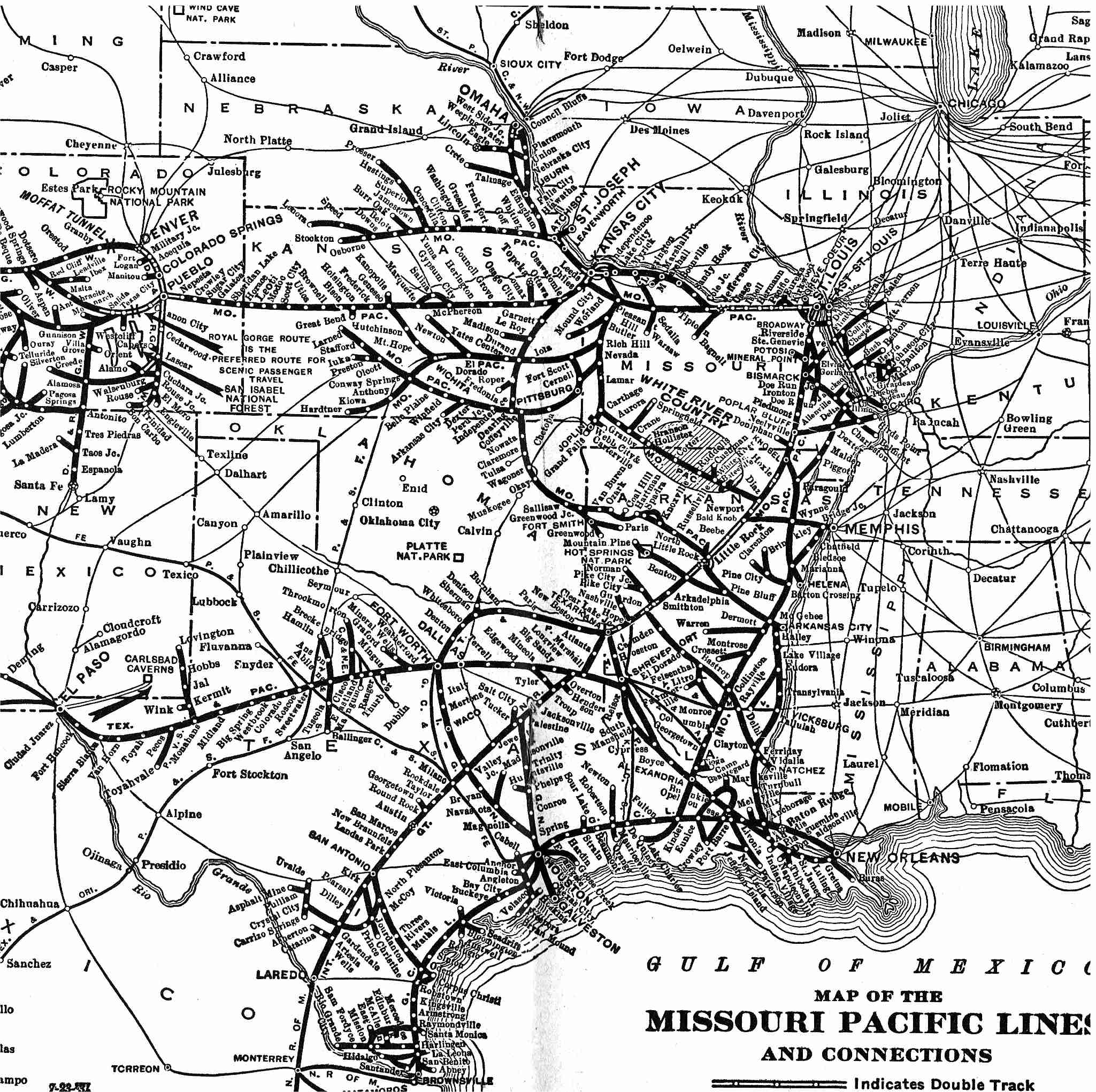 Missouri Pacific Railroad Map the Missouri Pacific RR System Map